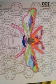 Deb colors a bee